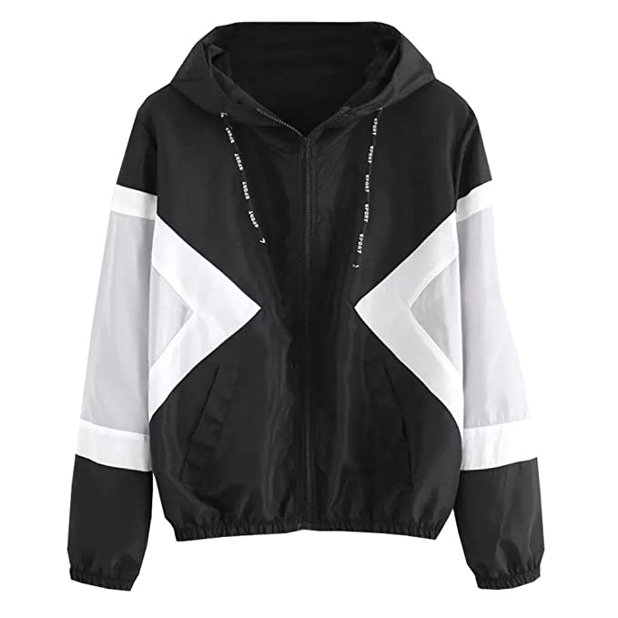 Amazon.com: Women Jacket Fashion Long Sleeve Color Block ...
