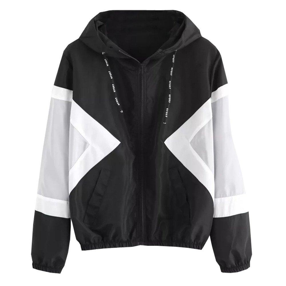 Farjing Coat for Women-Clearance Sale Long Sleeve Patchwork Thin Skinsuits Hooded Zipper Pockets Sport Coat(M,Black by Farjing