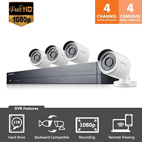 SDH-B73043 - Samsung Wisenet 4 Channel Full HD Video All-In-One Security  System with 4 Bullet Cameras