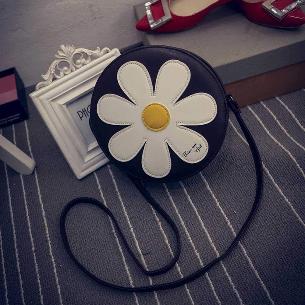 lennonsi Sac /À Bandouli/ère pour Femmes /À La Mode Nouvelle Fleur du Soleil en Cuir PU Petit Sac Rond pour Dame 26 10 Cm 26