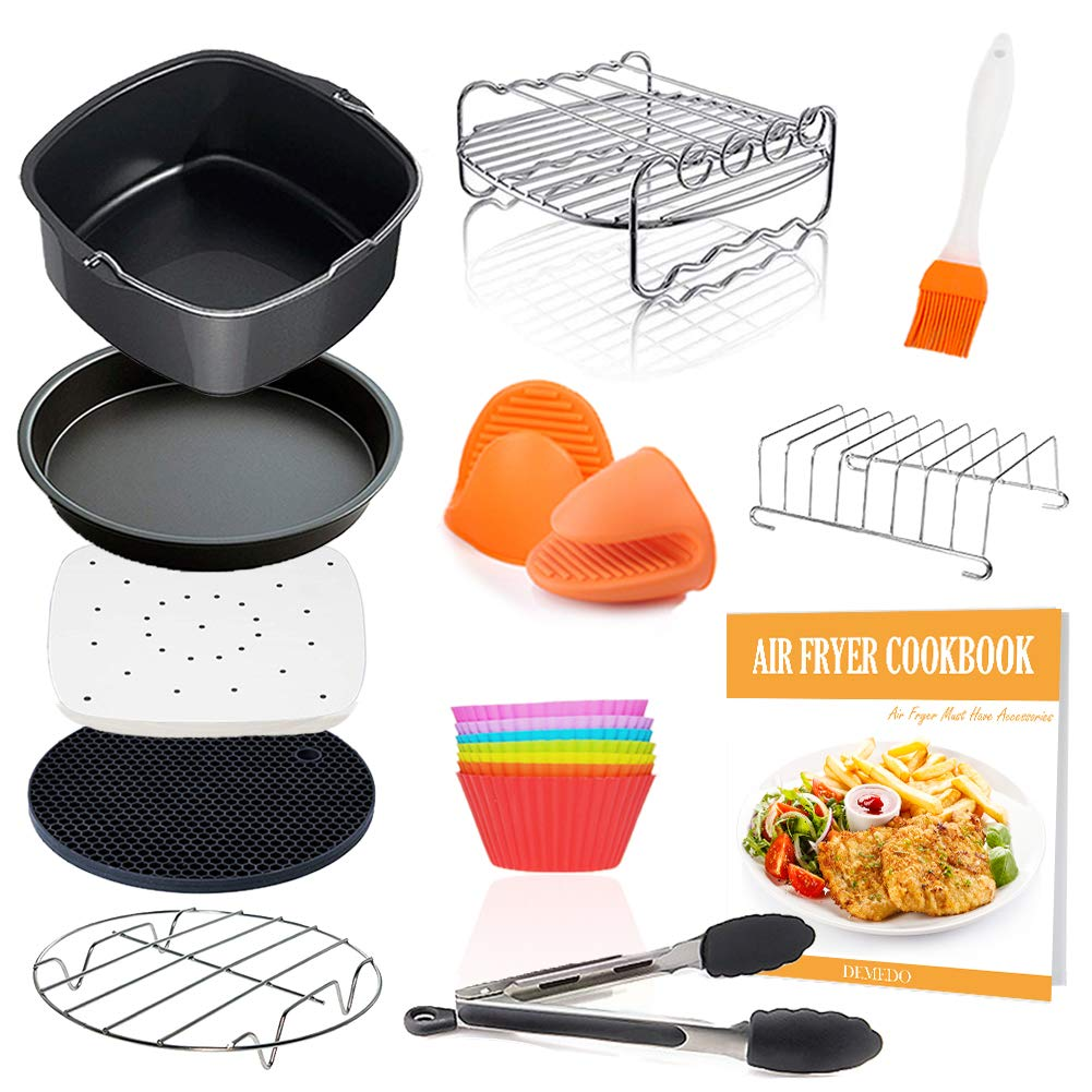 Square Air Fryer Accessories 11 pcs with Recipe Cookbook Compatible for Philips, COSORI, NuWave Brio and other Square AirFryers and Oven, Deluxe Deep Fryer Accessories Set of 12 by DEMEDO