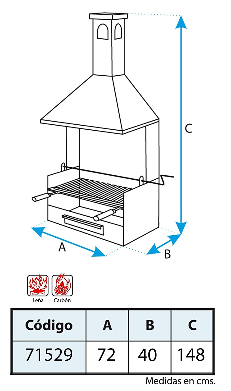 Imex El Zorro 71531 - Barbacoa chimenea con ruedas, elevador, parrilla inox y bandejas metálicas: Amazon.es: Jardín