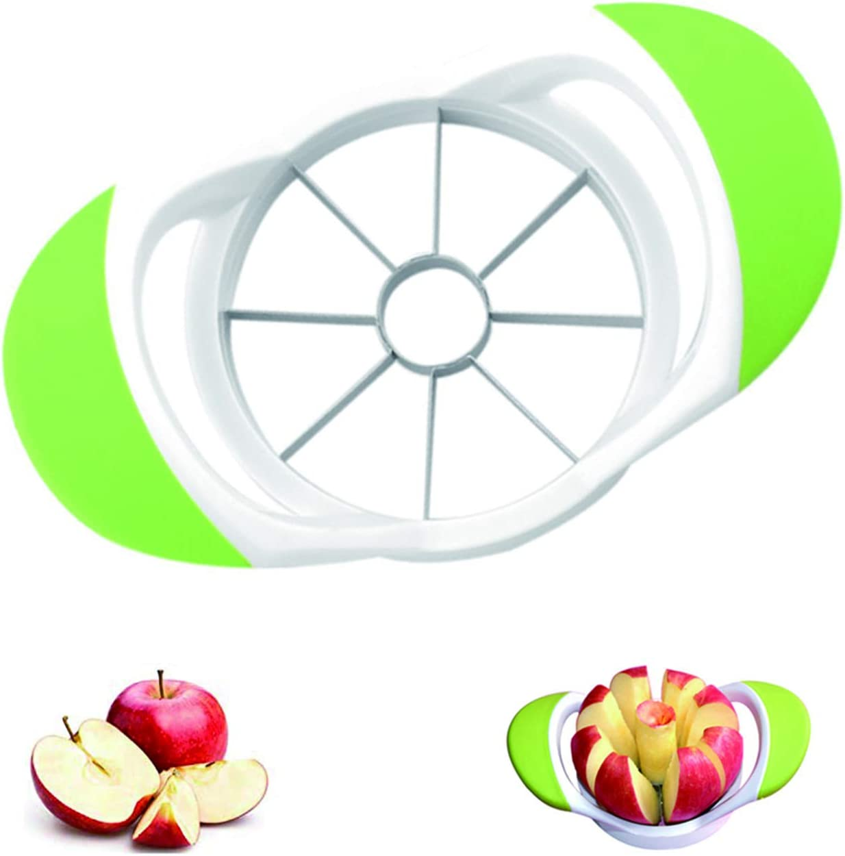 LYUSan Apple Slicer and Corer 8 Sharp Blades Apple Peeler Slicer Corer - 430 Grade Stainless Steel, 4.2 Inch Fruit Divider(Green)
