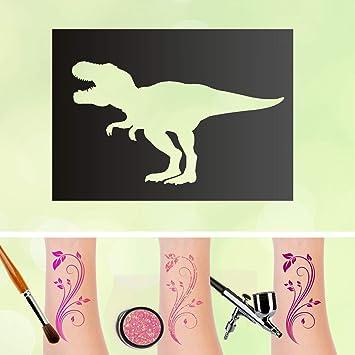 Tattoo Schablone T Rex Tyrannosaurus Dinosaurier Dino Selbstklebend Kinder Schminken Airbrush Grosse 10 Stuck Amazon De Beauty