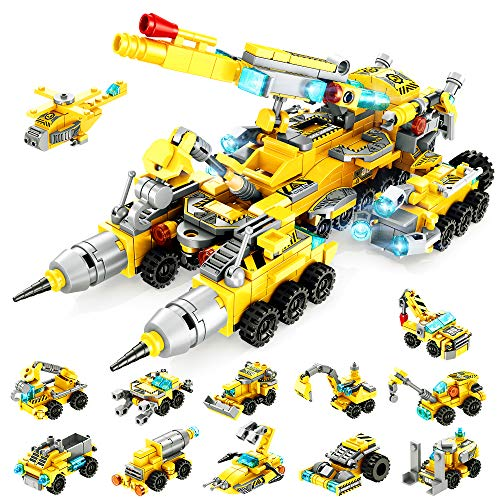 VATOS STEM Building Toys for Kids, 566PCS Construction Truck Blocks Toys for 6 Years Old Boys, 25-in-1 Educational Building Sets, Best Festival Gifts for Boys Girls Aged 6 7 8 9 10 11 12 Yr Old
