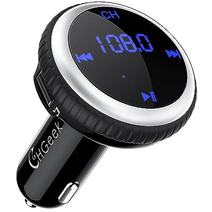 Transmisor FM Bluetooth, 5V/2.1A Localizador de Automóviles Reproductor Inalámbrico de MP3 Adaptador de Radio de Audio Manos Libres con 2 Cargadores ...