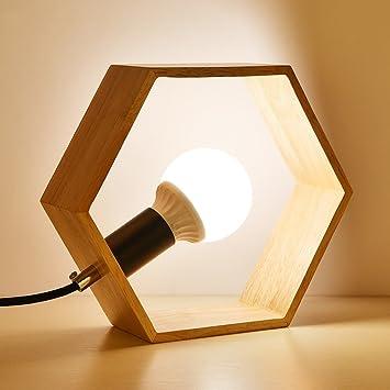 LXSEHN Lámpara de mesa LED nórdico moderno simple Madera ...