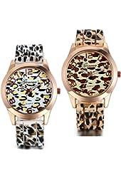 JewelryWe 2pcs Luxury Watches Leopard Print Silicone Strap Easy Reader Wristwatch for Girls Ladies Women