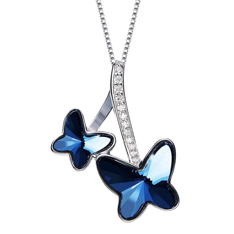 Aokarry Jewelry Women Sterling Silver Pendant Necklacescubic Zirconia Butterfly Pendant Blue 40+5Cm