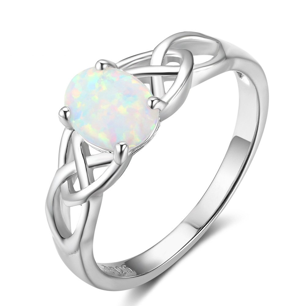 925 Sterling Silver Celtic Knot Lab Created Oval Opal Engagement Ring Band Size 7