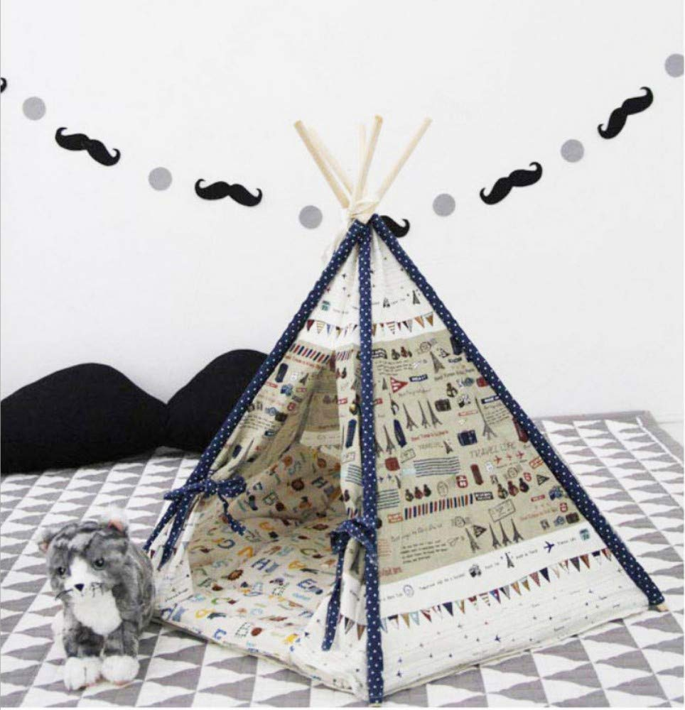 A 60X60X85CM A 60X60X85CM GZDXHN Pet Tent Teddy Removable Cotton Canvas Aircraft Printing Cats And Dogs Pet Nest,