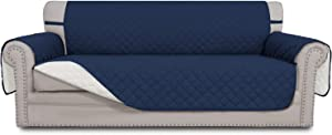 Easy-Going Sofa Slipcover Reversible Sofa Cover Water Resistant Couch Cover with Foam Sticks Elastic Straps Furniture Protector for PetsKidsChildrenDogCat(Oversized Sofa,Navy/Ivory)