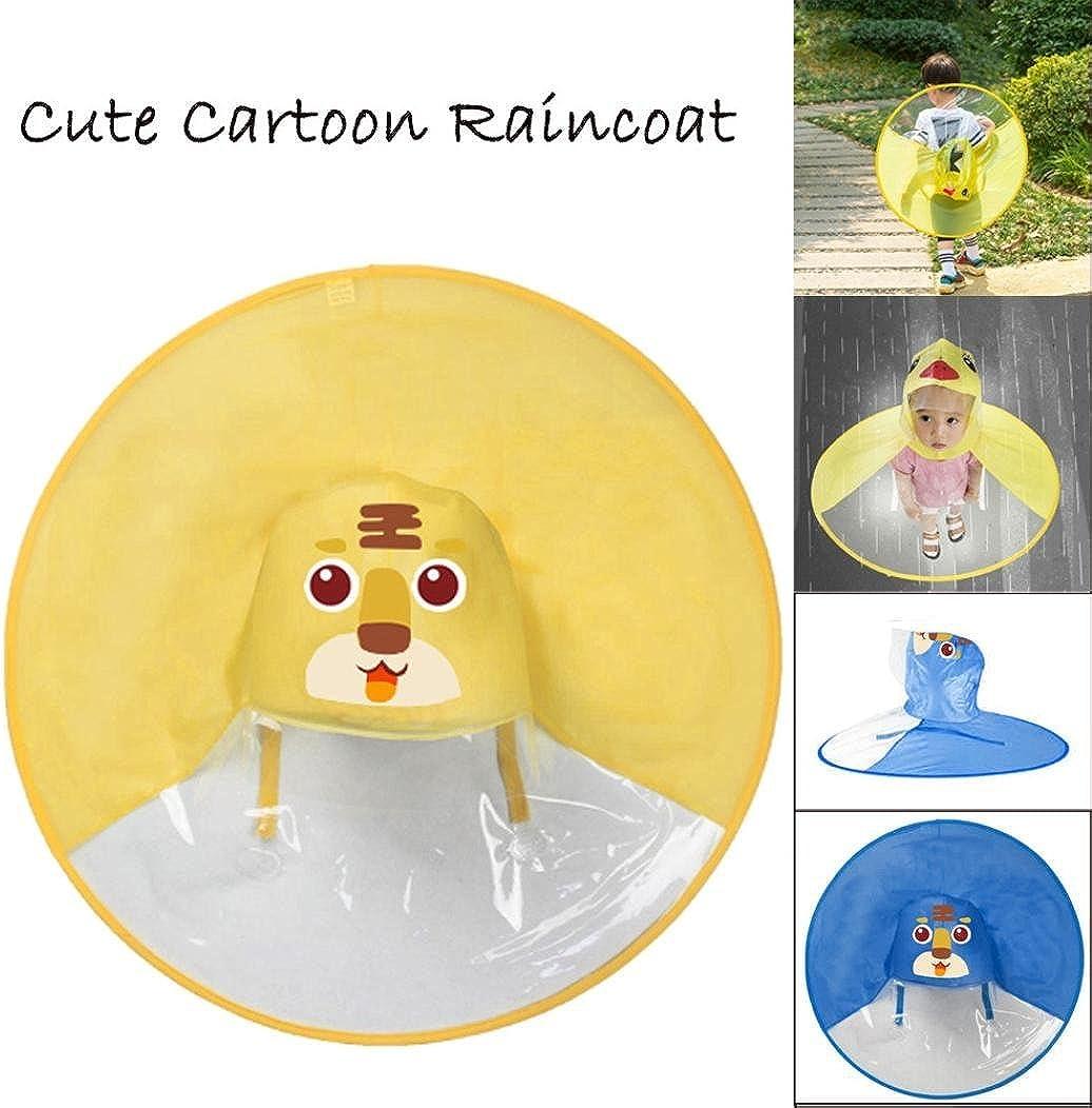 70.5cm//27.75, D SamMoSonCute Rain Coat UFO Children Umbrella Hat Magical Hands Free Raincoat Animali del Fumetto Impermeabile per Bambini