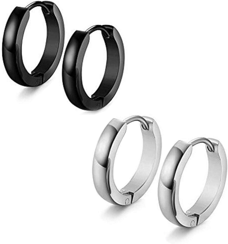 2 Colors Pairs Men's Women's Silver/Black Hip Hop Stainless Steel Hoop Earrings Jewelry