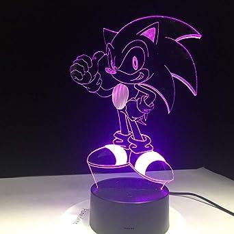 Led Sonic Flash Effet Hérisson Figure Lampe Anime 7 3d De Table Le f6gvbyY7