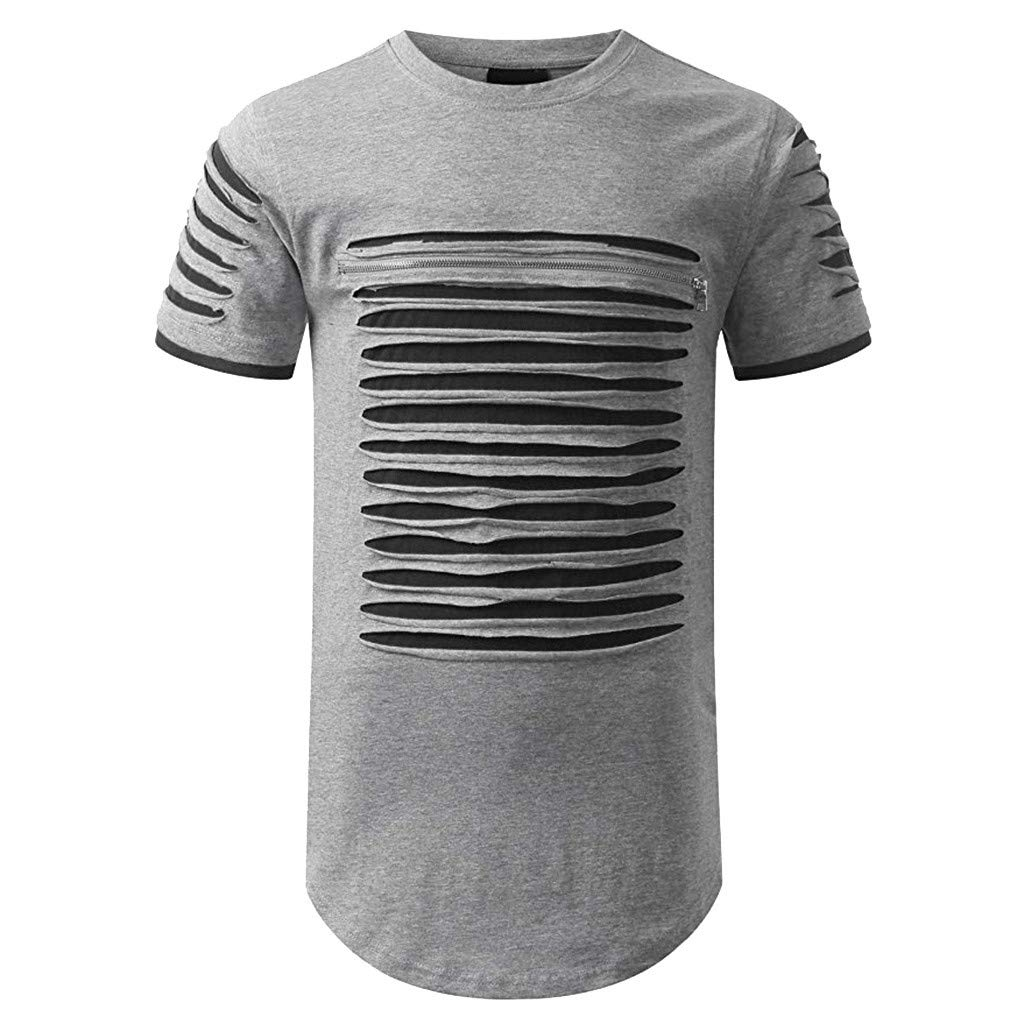 Photno Men Fashion Short Sleeve T Shirts Summer Hole Plain Tops Casual Slim FIt Tees