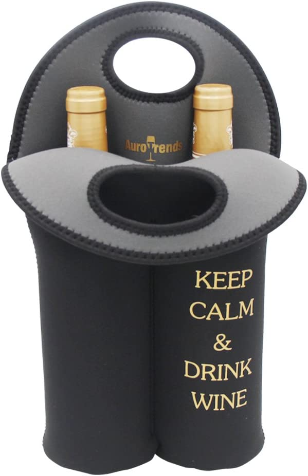 Wine Carrier Tote Bag- Durable Neoprene Wine/water Bottle Tote, Black - Great Gift That Keeps Wine Bottle Insulated on the Go (2-bottle)