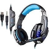 PUNICOK G9000 PS4 Gaming Headset Kopfhörer mit Mikrofon 3.5mm On Ear Surround Sound Ohrhörer und Lautstärkeregelung für PS4 Xbox One PC Laptop Tablet Mobile Phones Blau