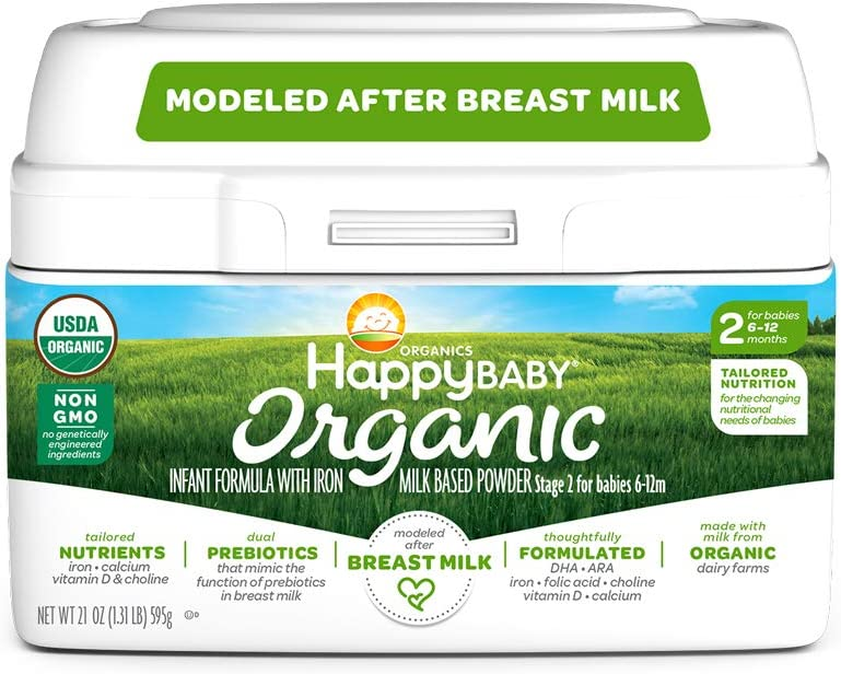 Happy Baby Organic Infant Formula Milk Based Powder with Iron, Stage 2, 21 Ounces, 4 Count (Packaging May Vary)
