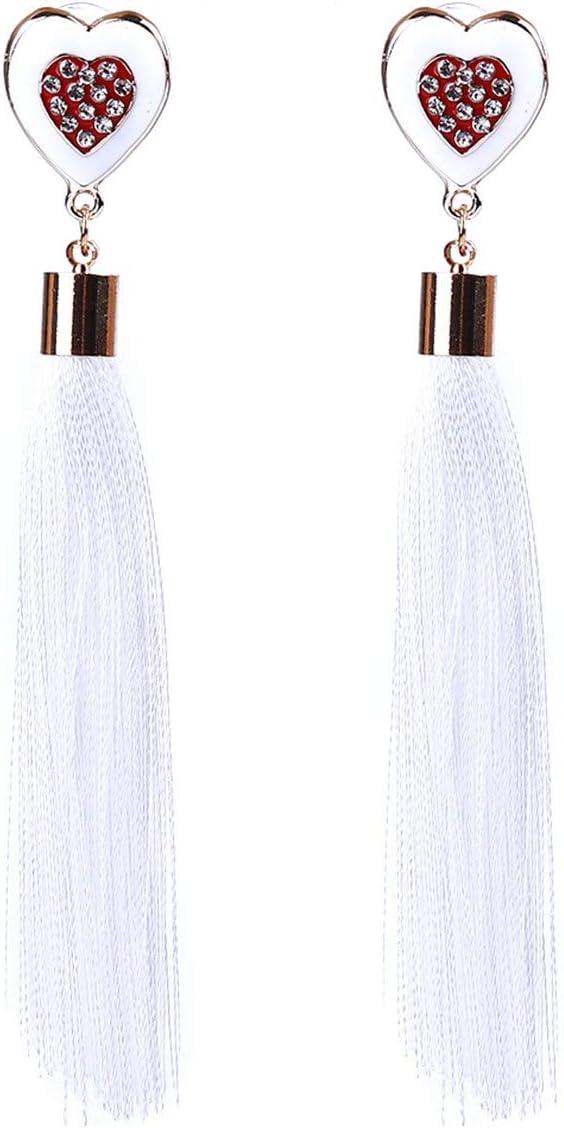 Winwinfly Long Tassel Earrings Peach Heart with Rhinestone Crystal Drop Earrings for Women,Black