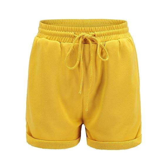 Ba Zha Hei-Pantalones de mujer, Pantalones Cortos de Las Mujeres Pantalones Cortos Flojos Ocasionales Pantalones Cortos de la Cintura Alta de la Muchacha de ...