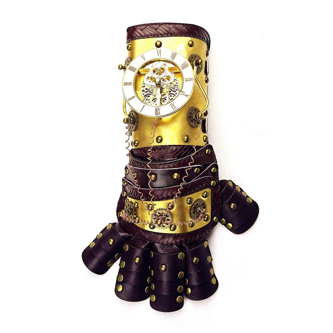 LINANNAV War Gauntlet Gold Arm Handschuh mit Horologe Getriebe Cosplay Kostüm Steampunk Requisiten Zubehör mit Geschenk-Box (Farbe : Gold)