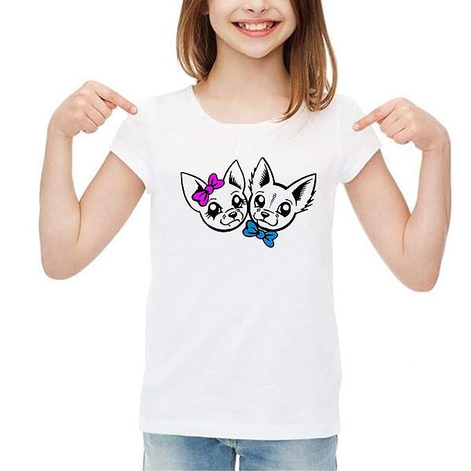 SpotApplick T Shirt Maglia Bambino Bambina Uomo Donna Coppia Cani Chihuahua  Fiocco Mezza Manica 100% dbc575aa3ef