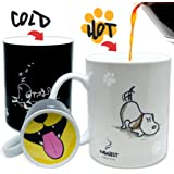 InGwest Home. Funny Coffee Mug with Friendly Dog and Tongue on bottom. Heat Sensitive Mug, Color Changing Mug.