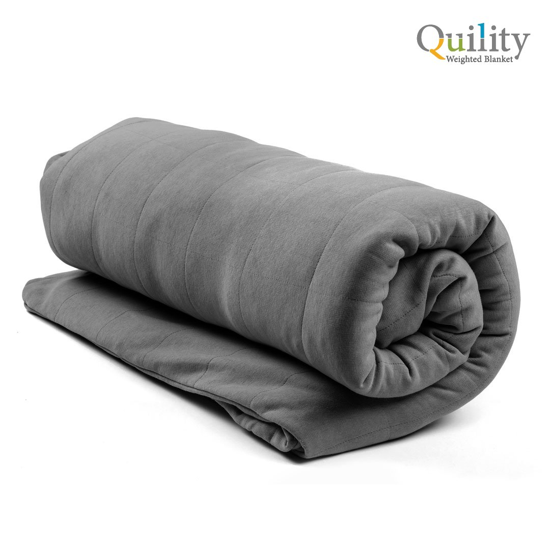 "Premium Adult Weighted Blanket & Removable Cover by Quility | 15 lbs | 48""x78"" (for a 90-150 lbs individual) 