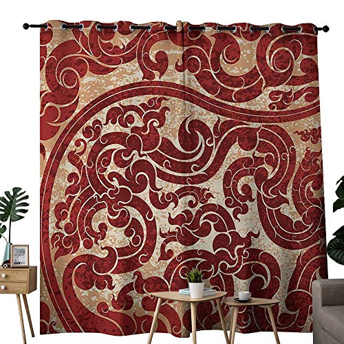 - Littletonhome Antique Blackout Curtains Thai Culture Vector Abstract Background Flower Pattern Wallpaper Design Artwork Print Privacy Protection W108 x L84 Ruby