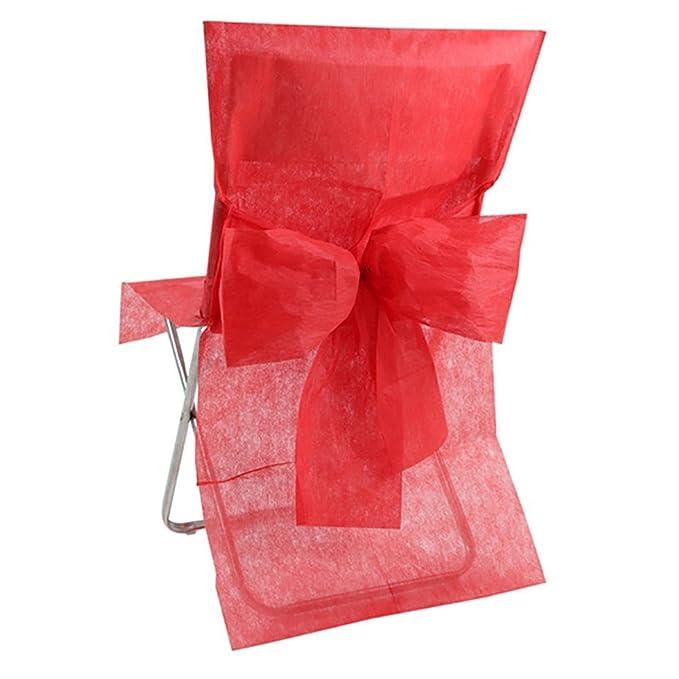 Cubre sillas de color rojo para decoración de sillas en eventos. - Pack de 10 unidades.
