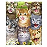Cats Selfie Fleece Throw Blanket