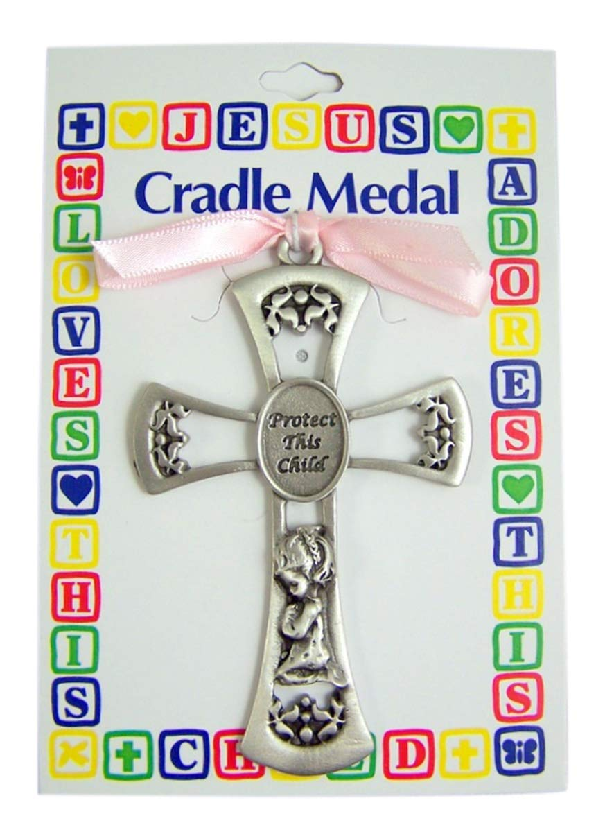Protect This Child Baby Girl Cradle Medal 3 1//2 Inch Singer Co
