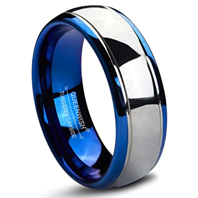 queenwish 8mm tungsten carbide wedding bands blue silver dome bridal rings for girlfriend 6 - Tungsten Carbide Wedding Rings