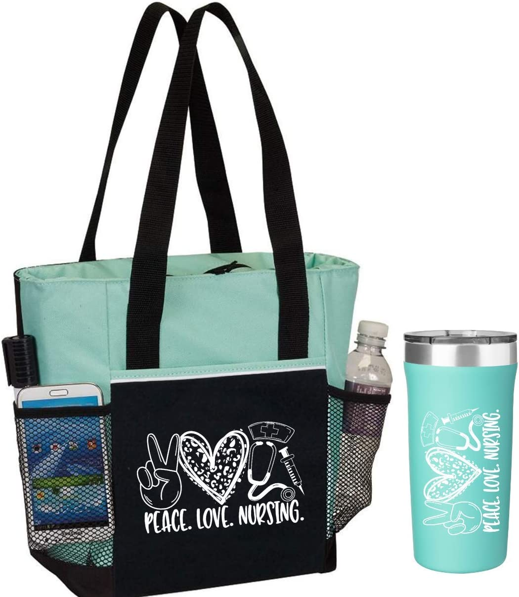 Image of a tote bag in teal and black with tumbler beside it.