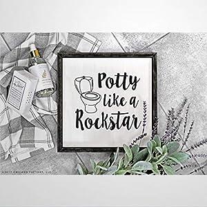 BYRON HOYLE Unique Potty Like A Rockstar Sign Kids Bathroom Wall Decor Funny Kids Bathroom Signs Childrens Bathroom Wooden Sign Wood Plaque Wall Art Wall Hanger Home Decor 30X30 cm