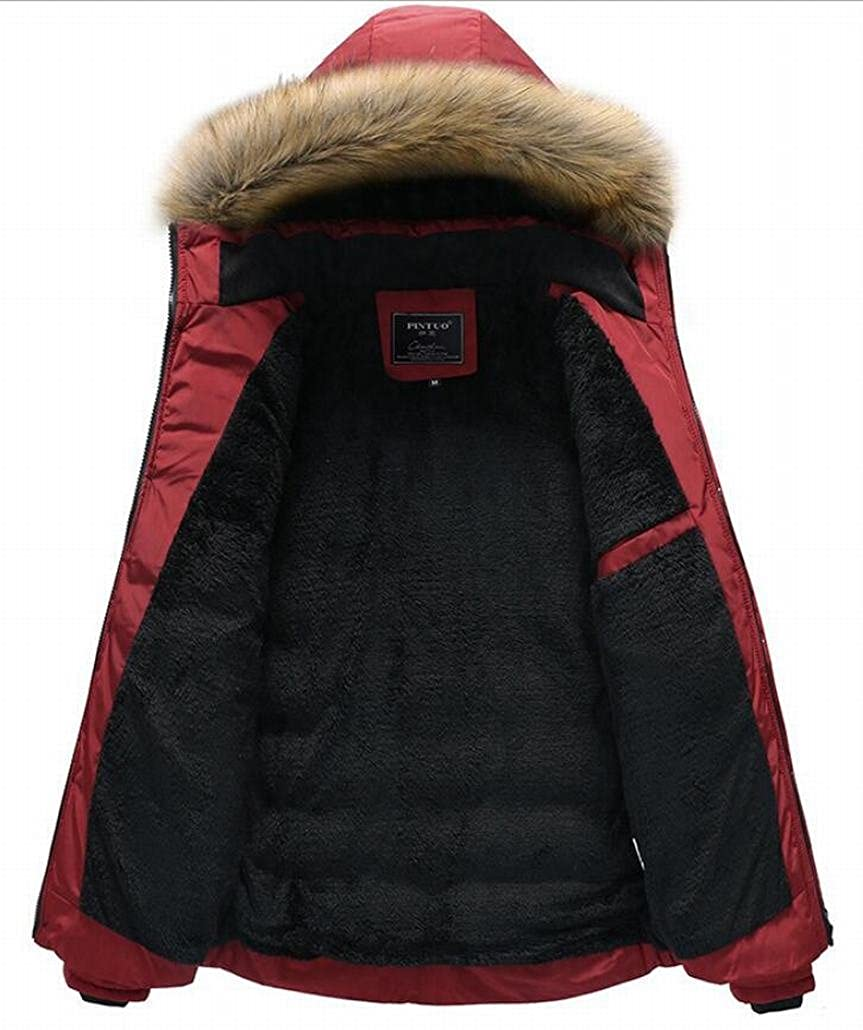 Esast Mens Winter Down Coat with Fur Hood with Down Parka Puffer Jacket