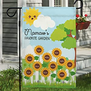 Grandmas Garden Flag Vertical Double Sided Nana's Love Bugs Grandkid Names, Sunflower Yard Flag, Mom Personalized Yard Outdoor Decoration Seasonal Flag Banner for Patio Lawn 12x18 Inch Farmhouse Decor