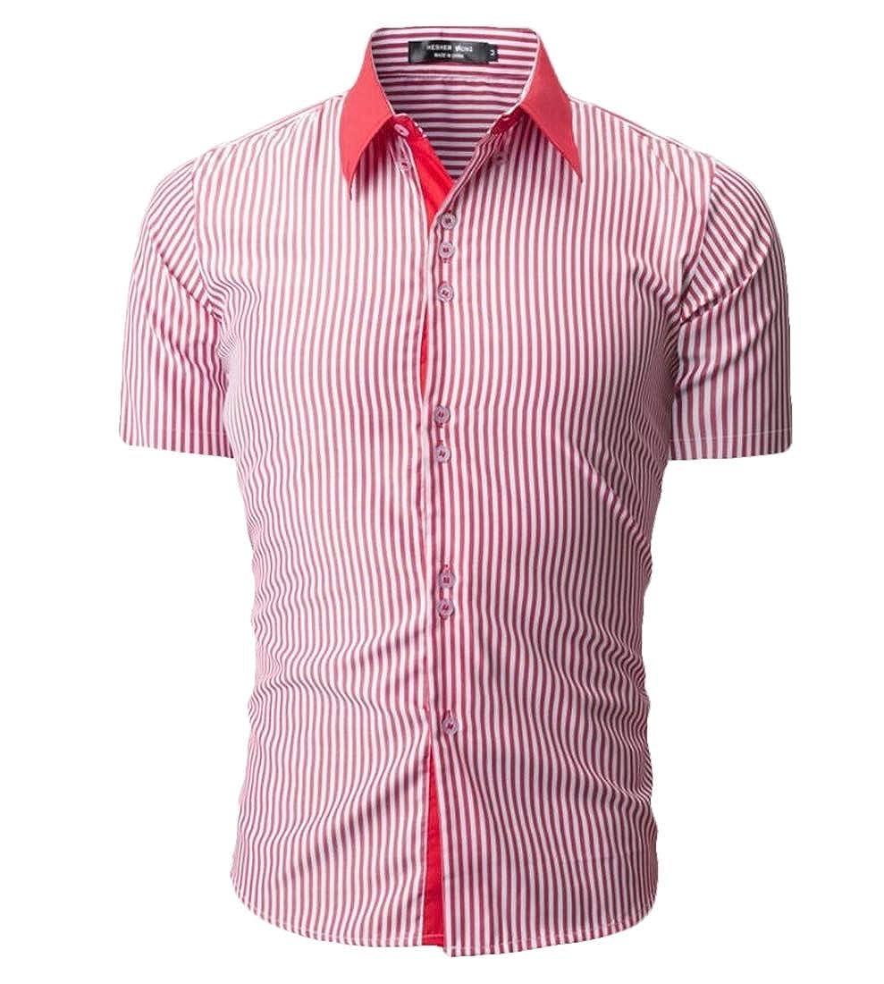YY-qianqian Mens Stripe Slim Fit Fashion Breathable Short Sleeve Button Down Dress Shirts