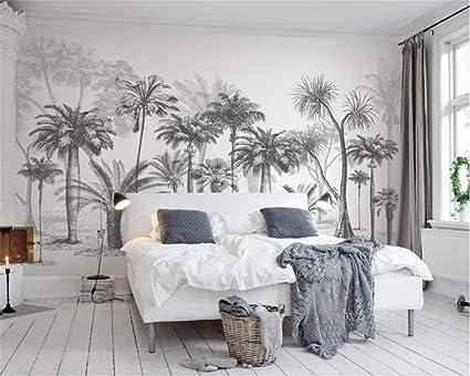 Carta Da Parati Tropicale Bianco E Nero.Murale Hd Sfondo Parati Carta Da Parati Personalizzata Murale