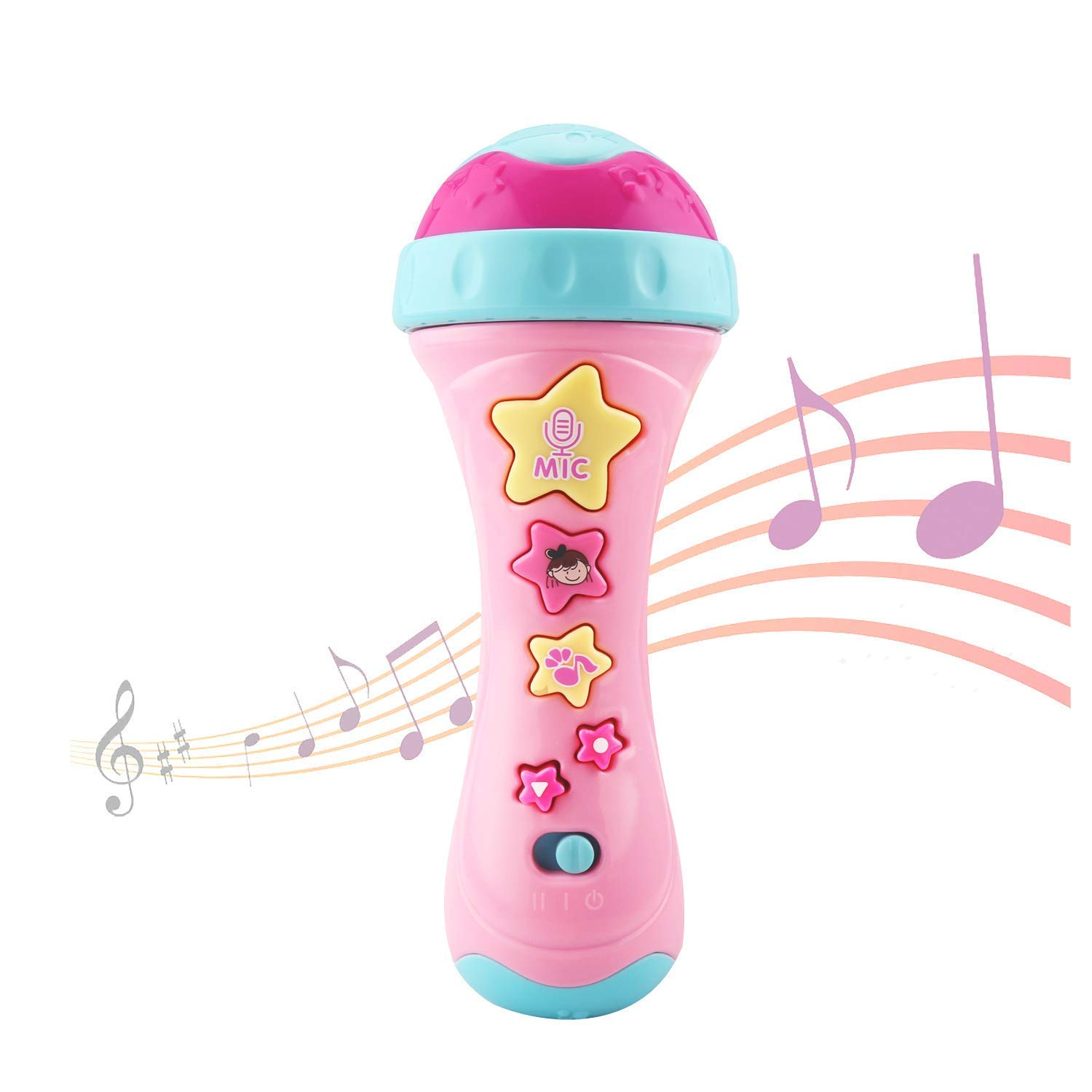 Ellien Kids Microphone with Long-Recoding & Voice Change Function, Music Karaoke Toys with Singing Along for Boys and Girls (Pink)