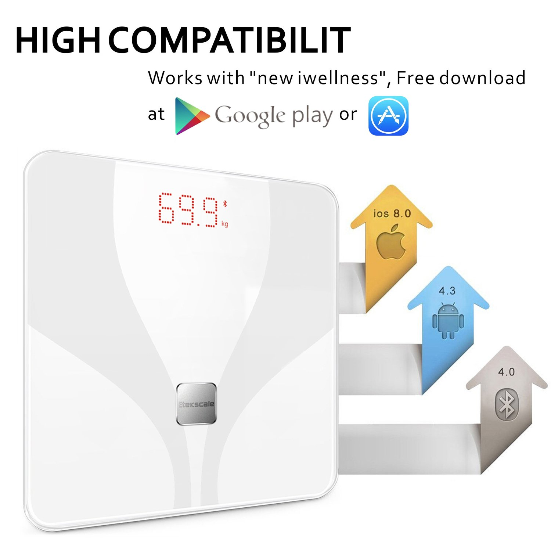 Etekscale Báscula de Baño Digital Báscula de Alta Precisión Digital de Alta Medida con Aplicación para Android e IOS Análisis Corporal