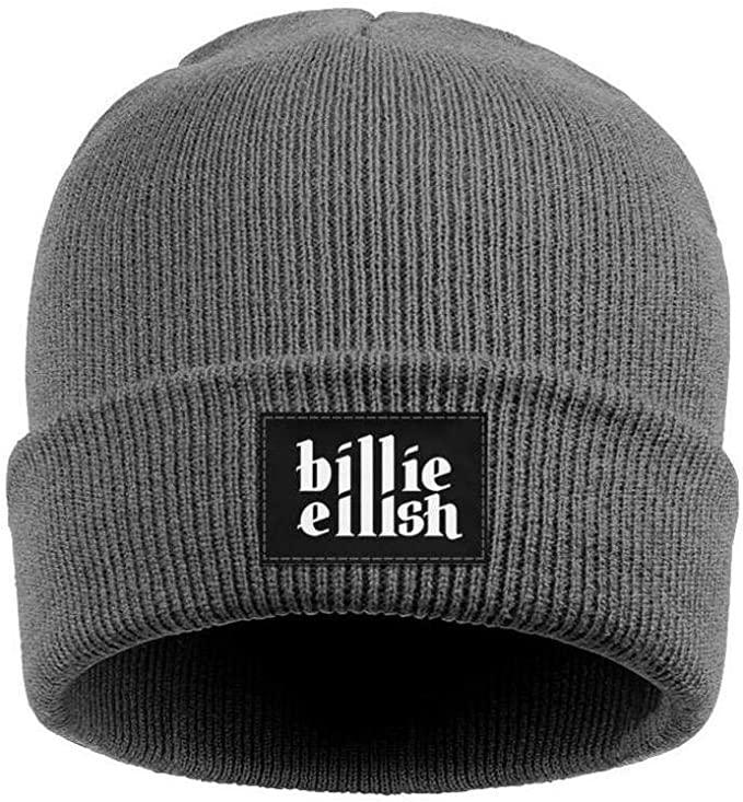 Cuffed gray Billie Eilish beanie with Billie Eilish script on black tag