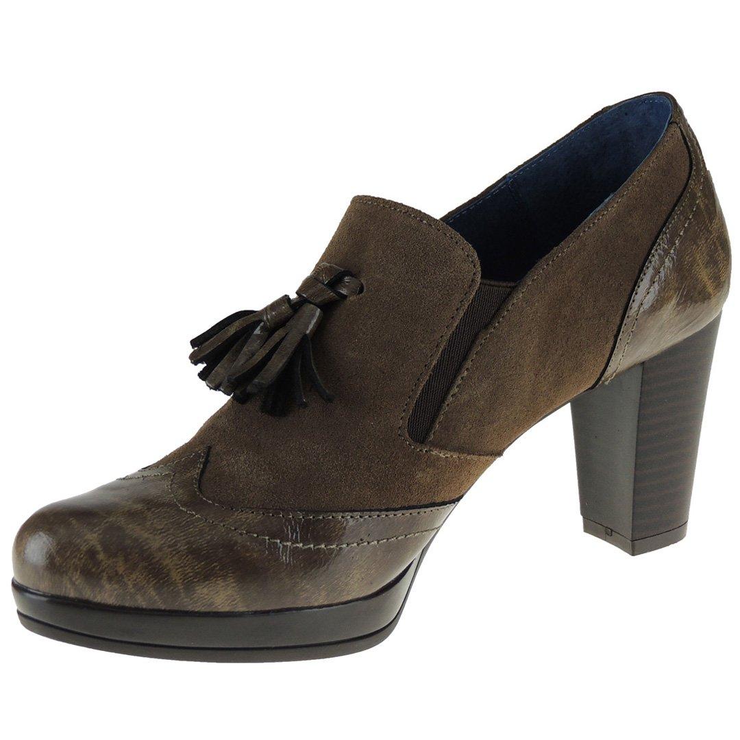 Aga SHU. Zapato Abotinado Borlas Tacón 8 Cm y Plataforma para Mujer - Modelo 5063 40 EU|Visón