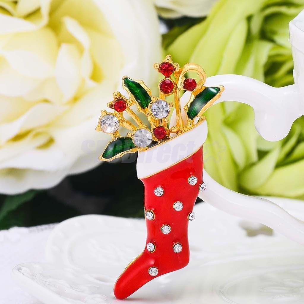 Stocking Boot Hot Enamel Christmas Brooch Pins Xmas Decoration