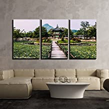 """wall26 - 3 Piece Canvas Wall Art - Emperor Kyoungbok Palace at Seoul, South Korea - Modern Home Decor Stretched and Framed Ready to Hang - 24""""x36""""x3 Panels"""