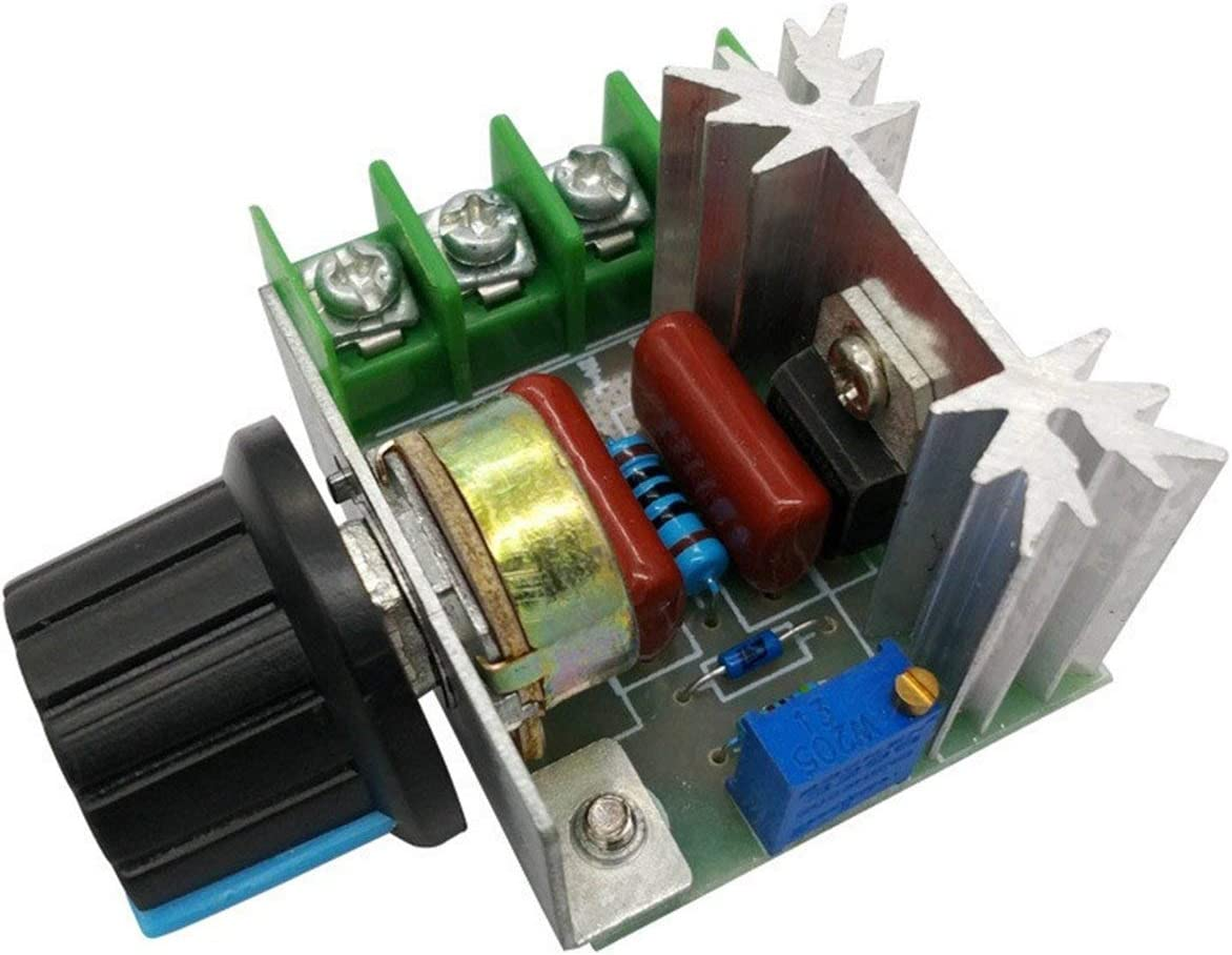 R/égulateur de tension 2000W SCR Gradateurs de gradation Module de r/égulateur de tension du thermostat du contr/ôleur de vitesse du moteur vert JIO-F
