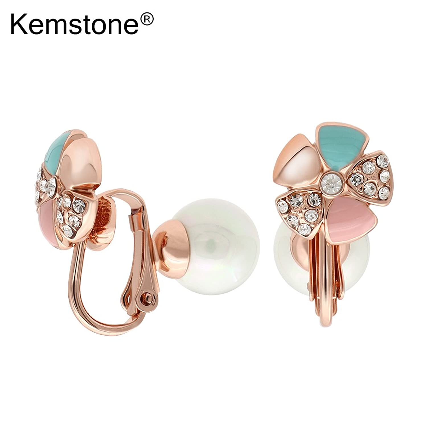 Kemstone Rose Gold Plated Simulated Pearl Cubic Zirconia Clip-on Double Side Earrings 5VhsMKtE