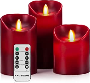 """Aku Tonpa Flameless Candles Battery Operated Pillar Real Wax Electric LED Candle Gift Set with Remote Control Cycling 24 Hours Timer, 4"""" 5"""" 6"""" Pack of 3 (Burgundy)"""