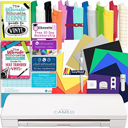 Silhouette CAMEO 3 Bluetooth Starter Bundle with 12 Oracal, 651 Sheets and 12 Siser Easyweed Heat Transfer Sheets by Silhouette